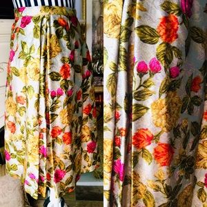 Vintage Satin Brocade Tapestry Pleated Midi Skirt